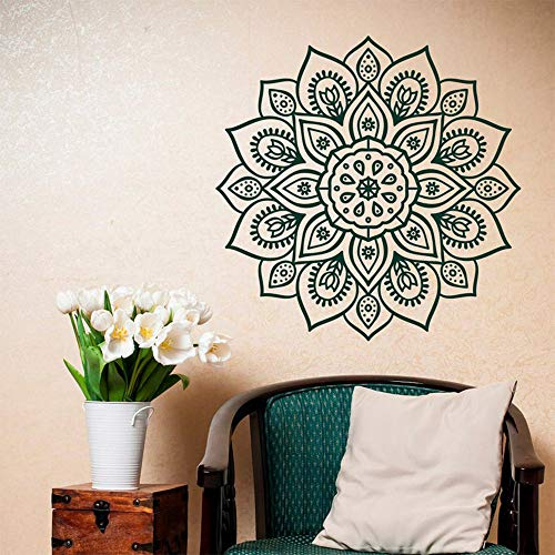 shiyueNB Verwijderbare muur sticker mandala vinyl muur kunst yoga studio boho stijl kamer moroccan decoratie mandala sticker behang decoratie zwart 74x75cm