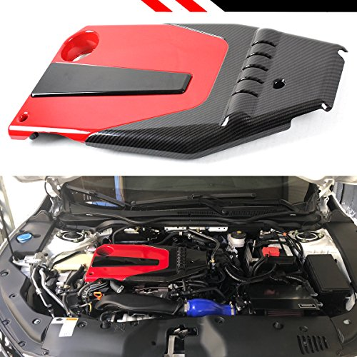 JDM Red Black Type-R Style Engine Valve Cover Compatible With 2016-2020 10th Gen Honda Civic