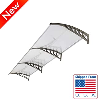 Jresboen Stronger Door Awnings Exterior Window Awnings with Thicken ABS Curved Bracket, 3 Aluminum Fixing Bars and Translucent PC Board, Outdoor Door Awning Canopy for Rain (40 x 120)