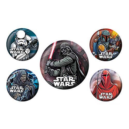 Pritties Accessories Genuine Star Wars Dark Side 5-teiliges Abzeichen Set Darth Vader Lucasfilm