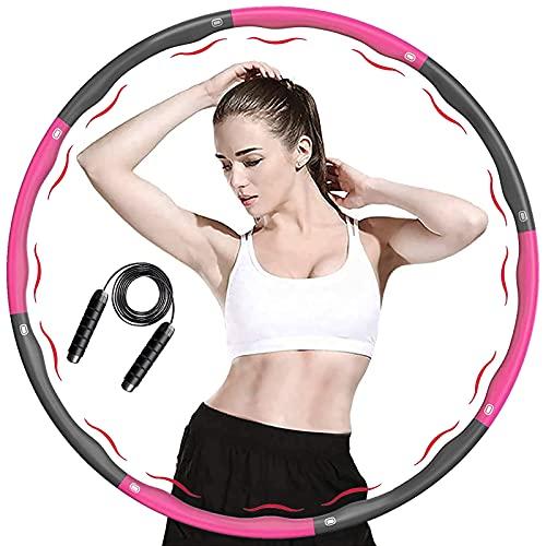ACPURI Hula Hoop Reifen Erwachsene, Fitness Hoola Hoop Kinder Schaumstoff, Abnehmbarer 6-8 Knotens, Durchmesser 95cm mit 2,8m Springseil