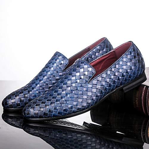 Xlin Zapatos de Marca Trenza de Piel Oxfords Casual Conduce los Zapatos de los Zapatos de los Hombres de los Holgazanes Mocasines Italianos for los Hombres Pisos (Color : Blue, Shoe Size : 45 EU)