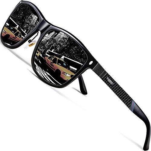 ATTCL Gafas De Sol Hombre Polarizadas Retro Estructura De metal Al-Mg 7001 Black