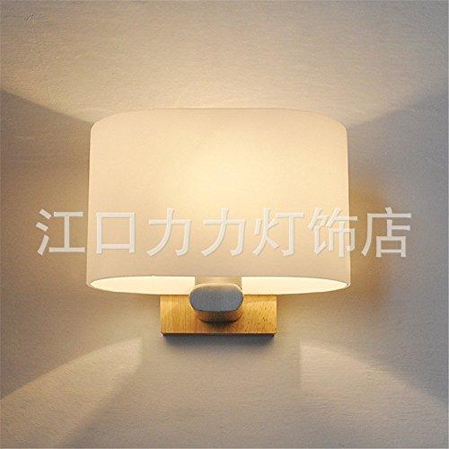 YU-K Mur de bois massif bois lampe applique murale en verre lampe murale en chêne lit