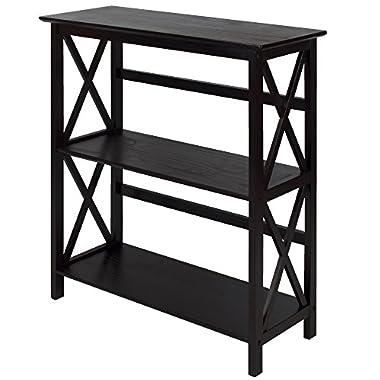 Montego 3-Shelf Bookcase-Espresso
