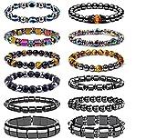 SONNYX 12 Pieces Magnetic Therapy Bracelet Energy Healing Bracelet Relief Hematite Bracelet Set for Men Women Tiger Eye Lava Rock Beads Stone Bracelets for Women Men