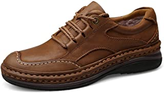 XueQing Pan Work Boot for Men Climbing Shoes Lace Up Genuine Leather Experienced Stitched Latex Insoles Cushioning Soles Waterproof Walking Hiking Trekking (Color : Light-Brown, Size : 9 UK)