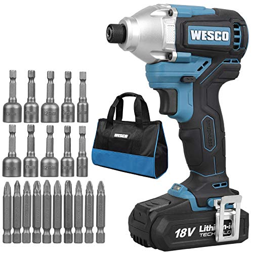 Brushless Impact Driver, WESCO 18V 2.0Ah Cordless Impact Drill Driver with 21 Accessories,180 Nm,0-3600bpm, Drill Chuck 6.35mm (1/4 inch), 2-Gear Shift, with Belt Clip, Battery and Charger,WS2320