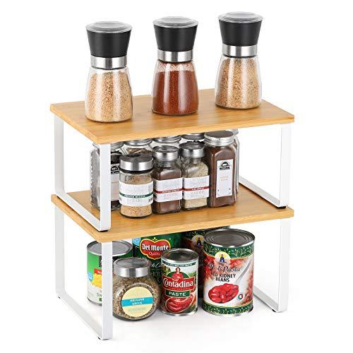 Liheya 2er Set Bambus Küchenregal Gewürzregal Organizer für Geschirr Stapelbar Küchenablage mehr Abstellfläsche zum Sammlung Sort für Küche