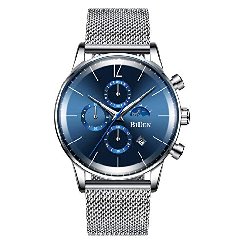 BIDEN Relojes de cuarzo para hombre con esfera azul cronógrafo fase lunar fecha correa de malla de acero