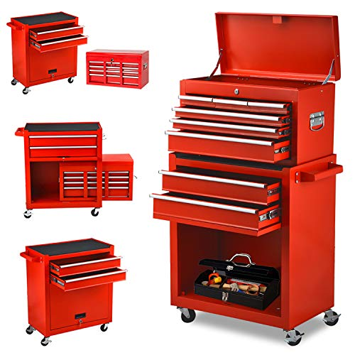 Large Rolling 8 Drawer Tool Boxes Tool Chest, NEW Black 2 in 1 Garage Cabinets Organizers with Wheels Tool Storage Improvement Organization Mobile Work Bench for Home Indoor (Red)