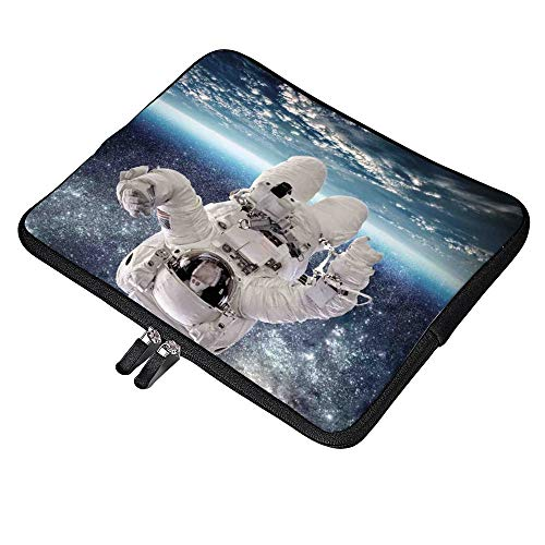 Outer Space Theme Astronaut in Milkyway 15 Inch Neoprene Laptop Sleeve Carrying Computer Case for Laptop Ultraportable Dell HP Samsung Ultrabook