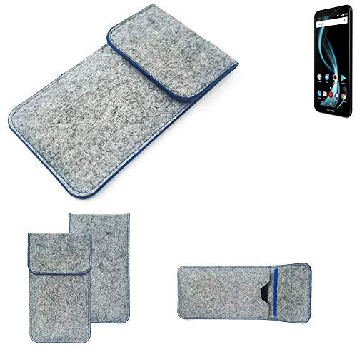K-S-Trade® Handy Schutz Hülle Für Allview X4 Soul Infinity L Schutzhülle Handyhülle Filztasche Pouch Tasche Case Sleeve Filzhülle Hellgrau, Blauer Rand