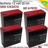KIT 4x BATTERIA RICARICABILE AL PIOMBO 12V 48V 20AH DEEP CYCLE CICLICA BICI BICICLETTE ELETTRICHE SCOOTER CARROZZINE ELETTRICHE 6DZM20 6-DZM-20 USO CICLICO CARRELLI ELETTRICI MOTORI TRAZIONE ELETTRICA