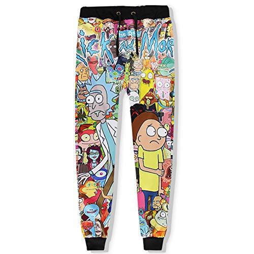 GQFGYYL-QD Rick y Morty 3D Anime Impreso Unisex Acogedor Pantalón Deportiva Largos Moda Casuales Pantalones Deportivos con Cordón y Bolsillo,5,XL