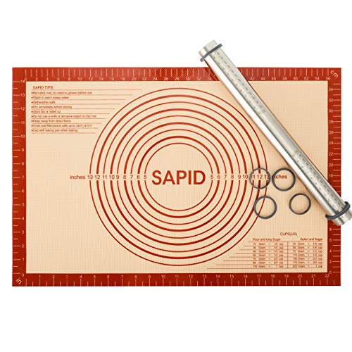 Sapid Adjustable Rolling Pin Silicone Pastry Mat Set, Non-Stick Stainless Steel Dough Roller with Removable Thickness Rings, Non-Slip Extra Large Pastry Baking Mats for Pizza, Pasta, Cookie, Pie Crust