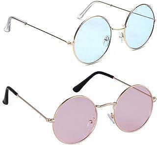 09239aa79b58 Phenomenal Round Unisex Sunglasses pack of 2 (Blue:Pink)