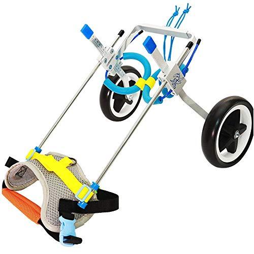 Silla de ruedas para perros para patas traseras, silla de ruedas ajustable para perros, 2 ruedas para carritos de perros, banda trasera para el vientre que protege la columna vertebral para perros