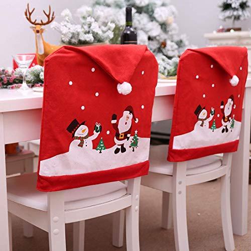 Tenrany Home Rojo Decoración Navideña Fundas para Sillas, Juego de 4 Gorro de Papá Noel Cubiertas de la Silla Cubre Respaldos Navideños para Decoración Fiesta o Cena de Navidad