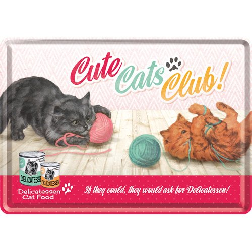 アニマルクラブ Cute Cats Club/ポストカード はがき (ブリキ製)