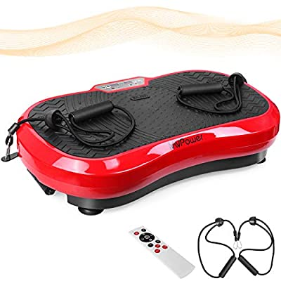 MVPower 3D Vibration Plate Exercise Machine Whole Body Vibration Fitness Platform Fit Massage,Tension Band|120-Speed Mute Motor|LCD Display|Remote Control,for Home Fitness,Weight Loss & Shaping(Red)