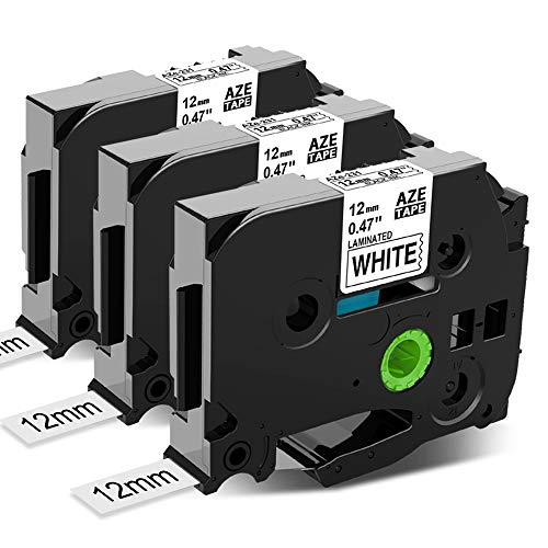 Anycolor kompatible Schriftband als Ersatz für Brother P-touch TZe- 231 schwarz auf weiß Etikettenband 12mm x 8m für 1000 W 1010 1080 1090 1200 H100LB H105 D200BW D400VP E100, 3er-Pack