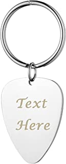 PiercingJ Personalized Custom Engraved Name Keychain Rectangle Guitar Pick Oval Dog Silvery Tag Pendant Keychain Key Ring for Best Friend Family