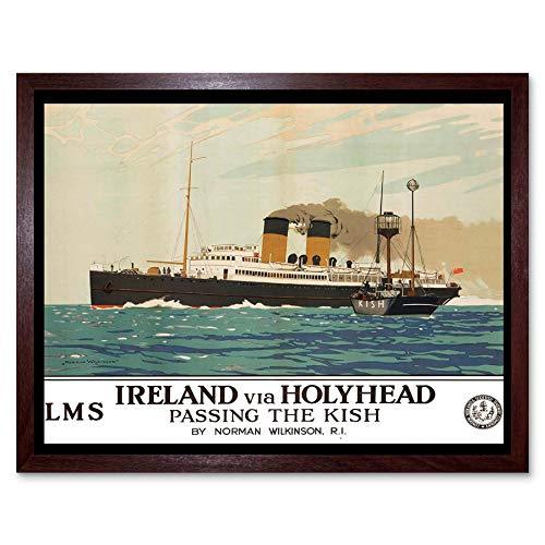 Wee Blue Coo Travel Transport Ierse Zee Ferry Kish Boot Schip Holyhead Ierland Art Print Ingelijste Poster muur Decor 12X16 Inch