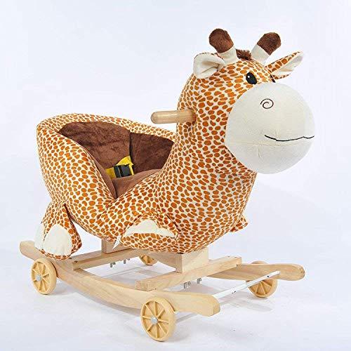 Patines de madera del caballo de oscilación de 6-48 meses Niños bebés y niñas 2 en 1 felpa del...