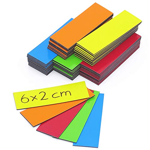 5 x Magnetic Strips Assorted Colours | Magnetic Tape For Marking Dividing on Whiteboards Storage Shelves Calendars | Magnetic Labels