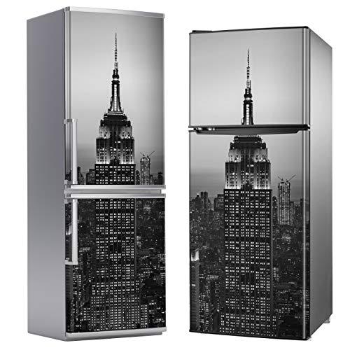 MEGADECOR Vinilo Adhesivo Decorativo para Nevera, Especial Libre De Burbujas, Edificio Empire State, Blanco Y Negro (185cm x 60cm)