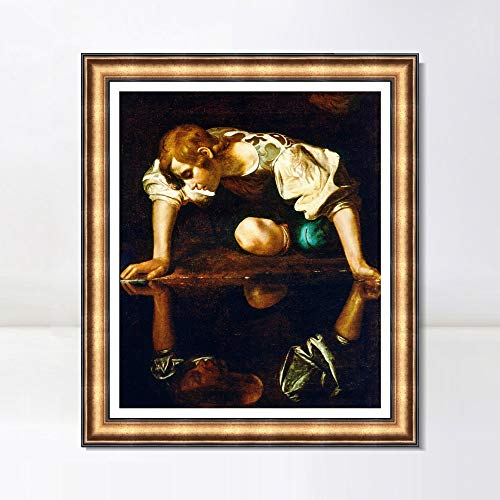 """INVIN ART Framed Canvas Art Giclee Print Narcissus by Michelangelo Merisi da Caravaggio Wall Art Living Room Home Office Decorations(European Retro Golden Frame with Linen Liner,28""""x32"""")"""