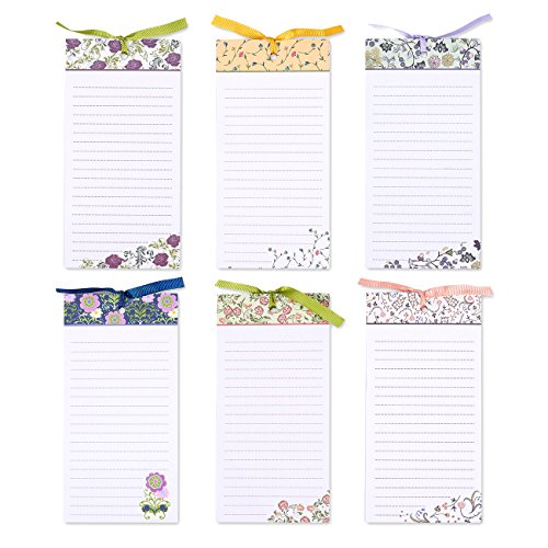 Juvale to-Do-List Notepad - 6-Pack Magnetic Notepads, Fridge Grocery List Magnet Memo Pad for Shopping, to Do List, Reminders, House Chores, Assorted Floral Designs, 60 Sheets Per Pad, 4 x 8 Inches