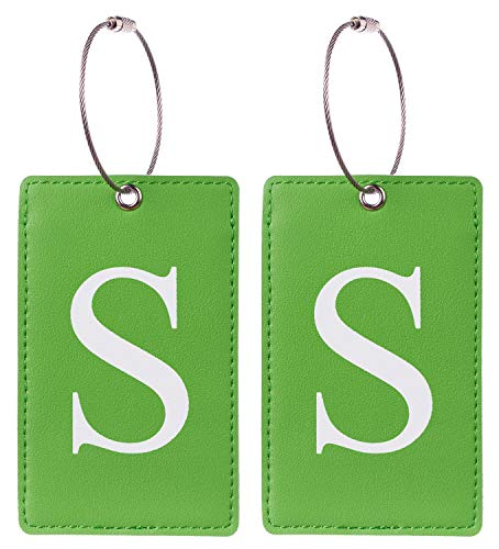 2 Pack Initial Luggage Tag Green by Gostwo Fully Bendable Tags Stainless Steel Loop (S)