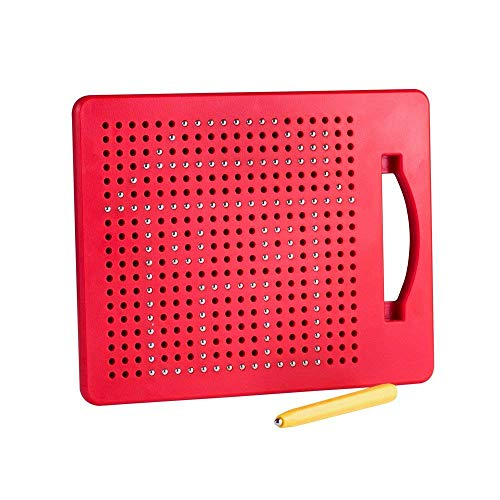 Playmags Magna Drawing Board Fun Design & Draw Travel Tablet w/ 380 Built-in Magnetic Balls, Matching Stylus Pen & Easy Carry Handle; Clean, Creative Fun & STEM Education for Toddlers Age 3+