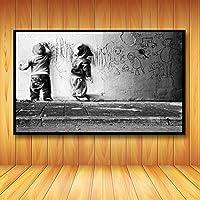 保育園キッズボーイズ走り書き壁アートスパーリングキャンバス印刷バンクシー落書き壁の装飾抽象ポスターと印刷60X80cm24x32インチフレームなし