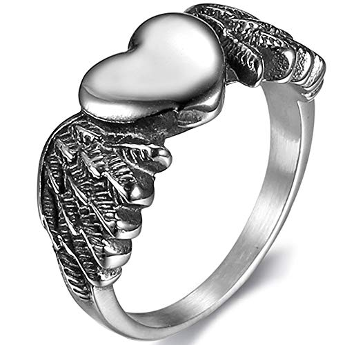 Jude Jewelers Vintage Style Angel Wing Heart Shaped Wedding Band Cocktail Party Promise Ring (Silver, 9)