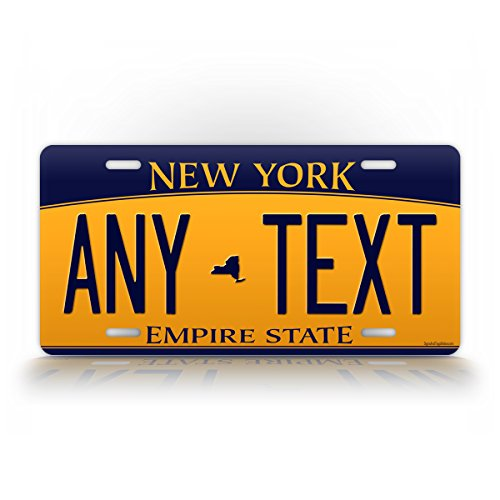 SignsAndTagsOnline Custom New York License Plate Any Text Personalized NY Metal Auto Tag Aluminum Empire State