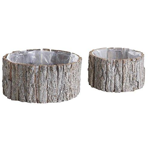 Maceteros redondos en madera y corteza - Set de 2
