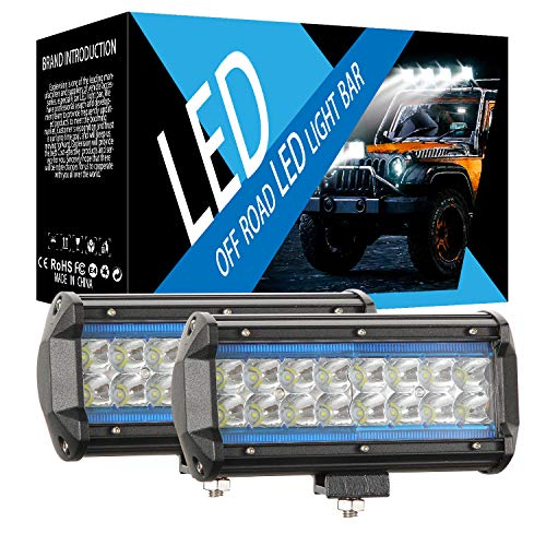 Ricoy 7 pulgadas LED azul y blanco DRL Angel Eye Light Bar 300W Offroad Driving Lights LED Pods Spot Flood Combo Beam Dual Color