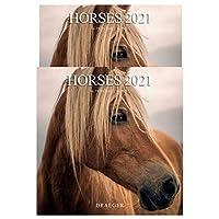 ドレジャー 2021年 ラージカレンダー HORSES(壁掛けタイプ) 馬 動物 かわいい 競馬 写真 月曜始まり フランス製 中国印刷