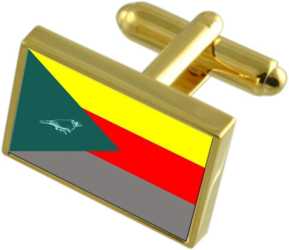 Irapuru Max 61% OFF City Sao Paulo State Engraved Cufflinks B Denver Mall Flag Gold-tone