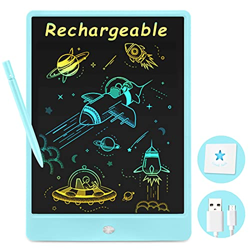 Rechargeable Doodle Board, Drawing Pad for Kids, 10 inches Erasable LCD Writing Table, Travel Activities Road Trip Toys for for 3 4 5 6 7 Year Old Boys - Blue