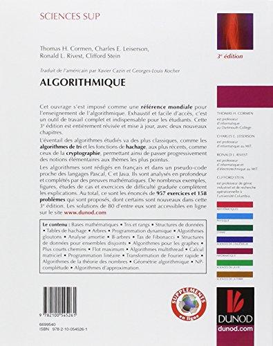 Algorithmique - 3ème édition - Cours avec 957 exercices et 158 problèmes: Cours avec 957 exercices et 158 problèmes (Sciences Sup)