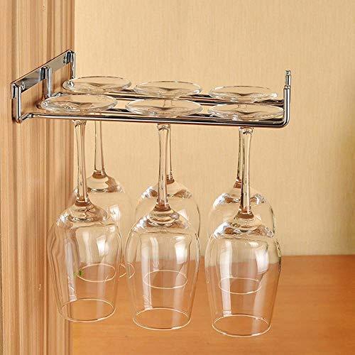 PPuujia Soporte para copa de vino colgante de metal para copa de vino, barra de plata/oro, soporte para copa de vino individual/doble, vaso de vino invertido (color: plata única)