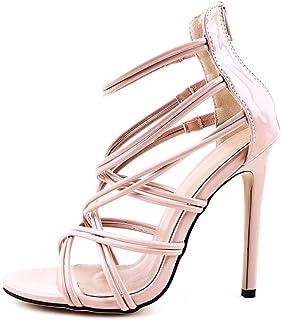 Women Sandals Summer Striped Peep Toe Stiletto High Heels (Color : Apricot, Size : 36 EU)