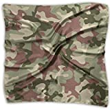 Mixed Designs Silk Square Scarves Bandana Scarf, Illustrated Green Camouflage In Forest Colors Hunter Combat,Womens Neck Head Set