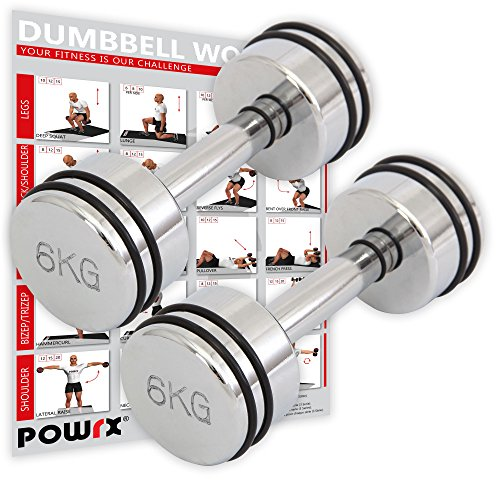 Kurzhantel Chrom Profi Studioline mit Gummiring 1 kg, 2 kg, 3 kg, 4 kg, 5 kg, 6 kg, 7 kg, 8 kg, 9 kg oder 10 kg Kurzhantel Set Chromhantel (6)