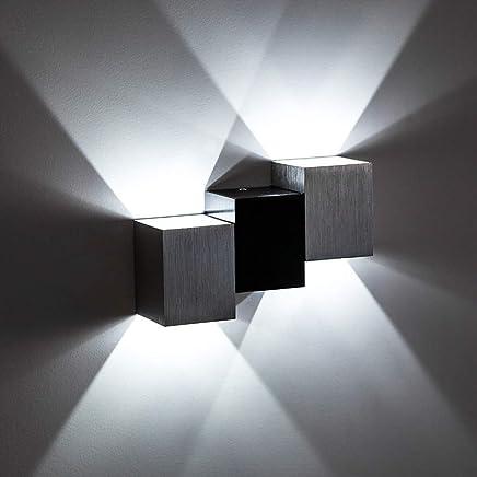 Lightess Applique Murale LED 6W Intérieur Lampe Murale Moderne Carré Up  Down En Aluminium Eclairage Décoration