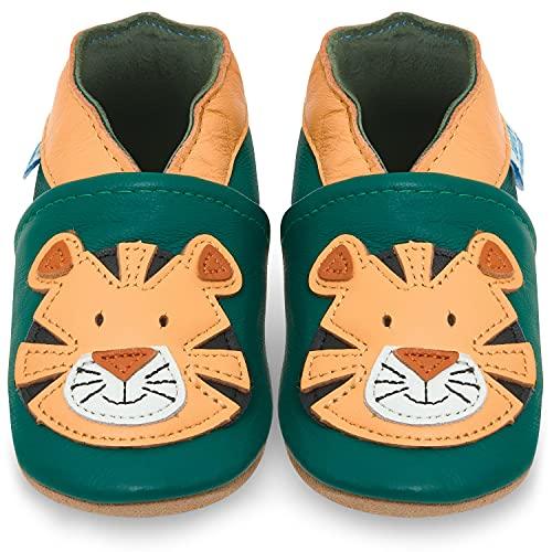 Juicy Bumbles Lauflernschuhe - Krabbelschuhe - Babyhausschuhe - Glücklicher Tiger 12-18 Monate (Größe 22/23)